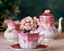 Antique Teaset Digital Backdrop & Layered Background for Babies