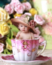 Antique Italian Teacup Digital Backdrop & Layered Background for Babies