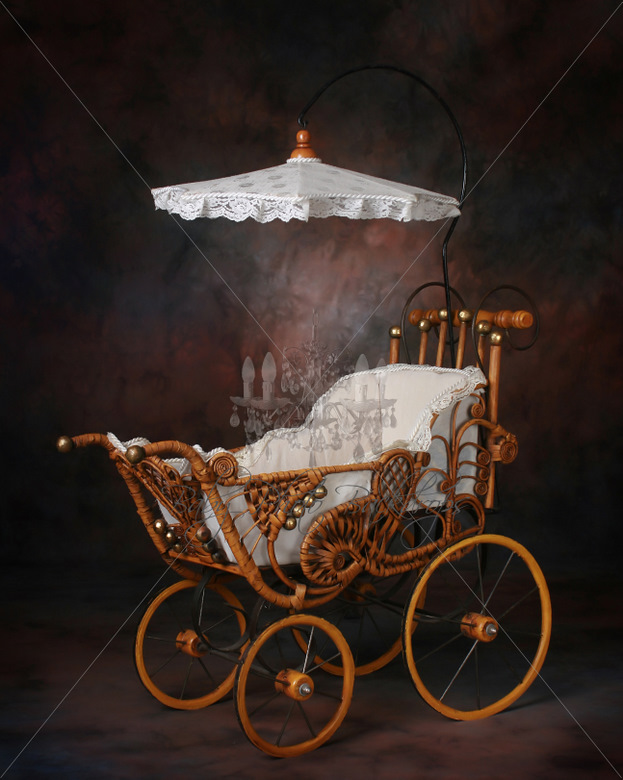 Antique Cane Pram Digital Backdrop & Layered Background for Babies!