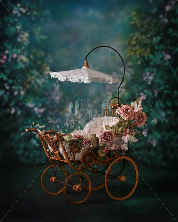 Antique Pram With Roses Digital Backdrop Amp Layered
